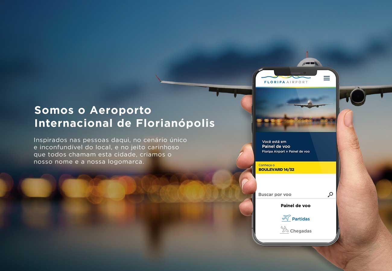 Site com horário de vôos operando junto ao Aeroporto Internacional de Florianópolis.