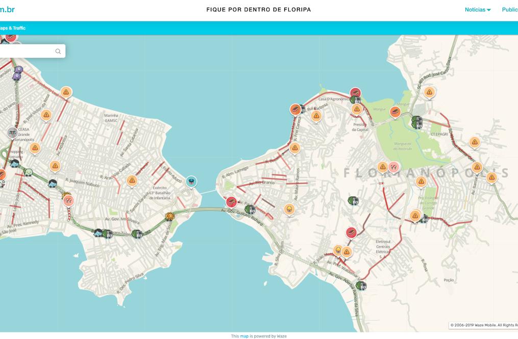 Em parceria com o Waze, deolhonailha.com.br fornece informações em tempo real do trânsito em Florianópolis